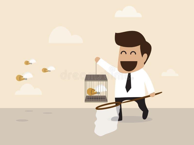 Het idee wordt lightbulb gevangen door zakenman stock illustratie