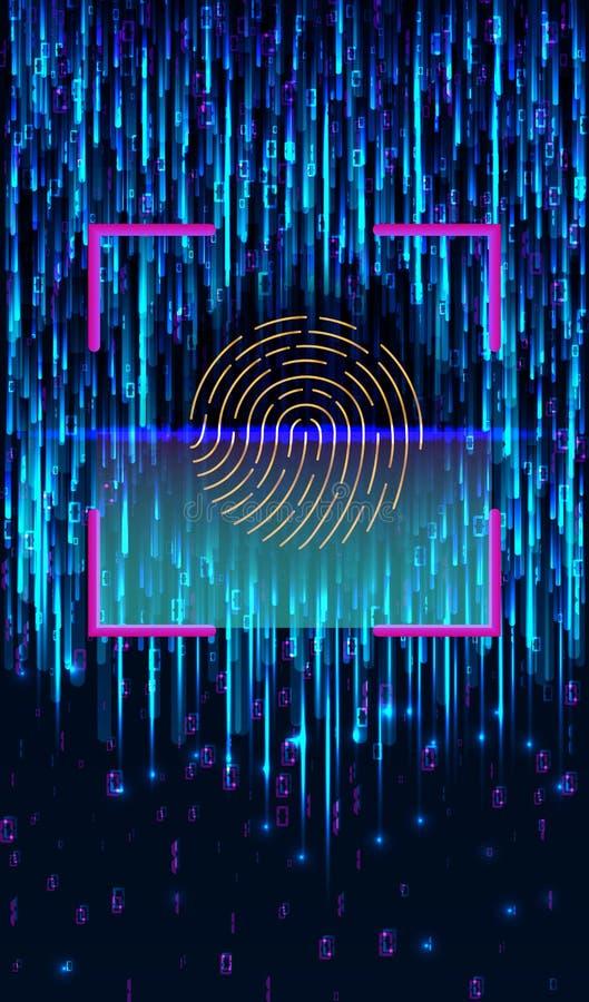 Het Identificatiesysteem van het vingerafdrukaftasten Het biometrische concept van de vergunnings en bedrijfsveiligheid royalty-vrije illustratie