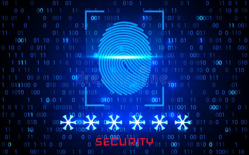 Het identificatiesysteem van het vingerafdrukaftasten Het biometrische concept van de vergunnings en bedrijfsveiligheid Vector il vector illustratie
