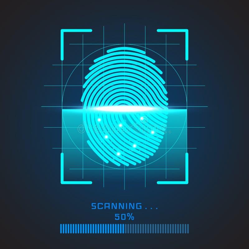 Het identificatiesysteem van het vingerafdrukaftasten Het biometrische concept van de vergunnings en bedrijfsveiligheid Vector il royalty-vrije illustratie