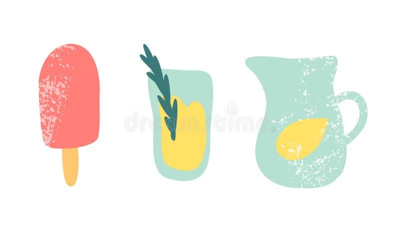 Het ijs knallen en de limonade vectorillustratie royalty-vrije illustratie