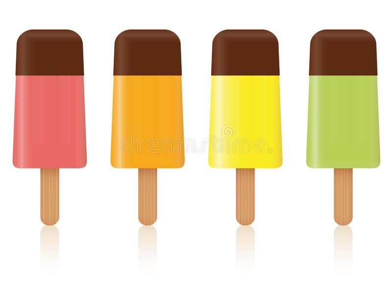 Download Het Ijs Knalt Het Aroma Van Het Chocoladefruit Vector Illustratie - Illustratie bestaande uit lollipops, bevroren: 107703855