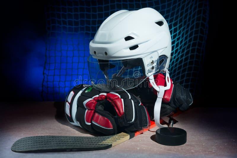 Het ijs van het hockeytoestel o stock foto