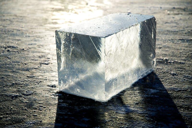 Het Ijs van het ijsblok is water in een in vaste toestand wordt bevroren die royalty-vrije stock fotografie