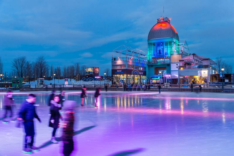 Het ijs van Pavillonbonsecours het schaatsen piste in Montreal stock afbeeldingen