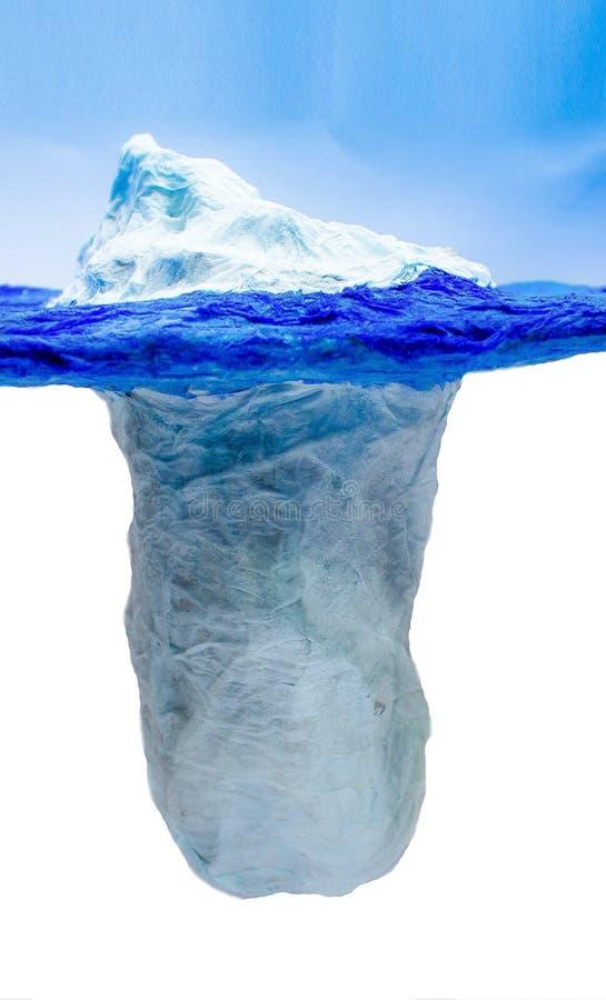 Het Ijsbergmodel, dat menselijke communicatie met ijsbergijsblokjes met een zichtbare afvloeiing van water vergelijkt De verhoudi stock afbeelding