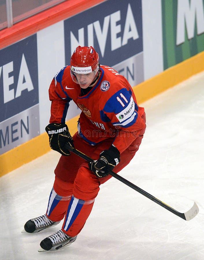 Het ijshockeyspeler Malkin van Rusland stock foto