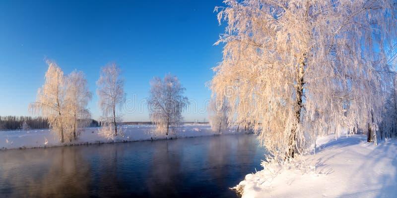 Het ijzige landschap van de de winterochtend met mist en bosrivier, Rusland, Ural royalty-vrije stock fotografie