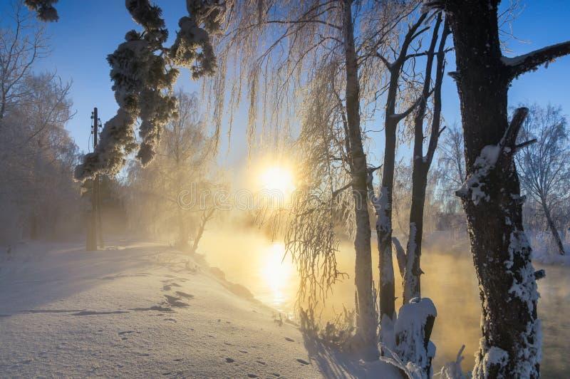Het ijzige landschap van de de winterochtend met mist en bosrivier, Rusland, Ural royalty-vrije stock afbeeldingen