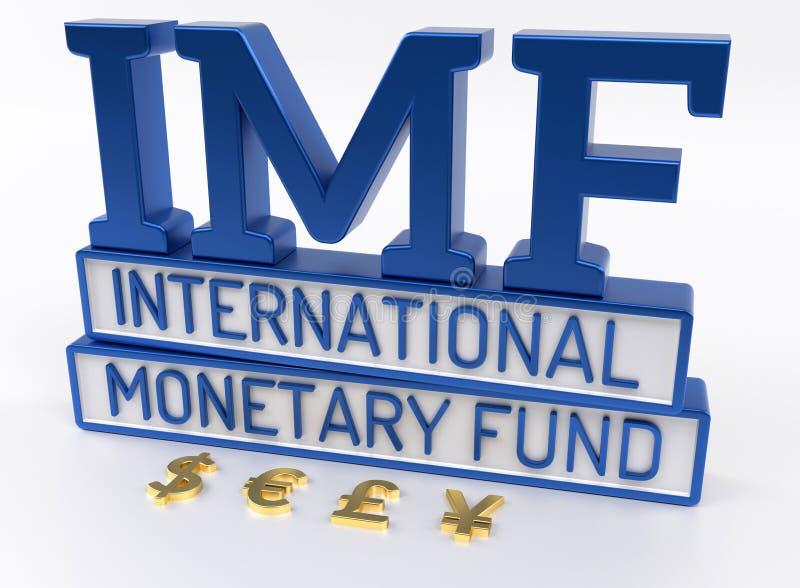 Het IMF - Internationaal Monetair Fonds, 3D Wereldbank - geef terug stock illustratie