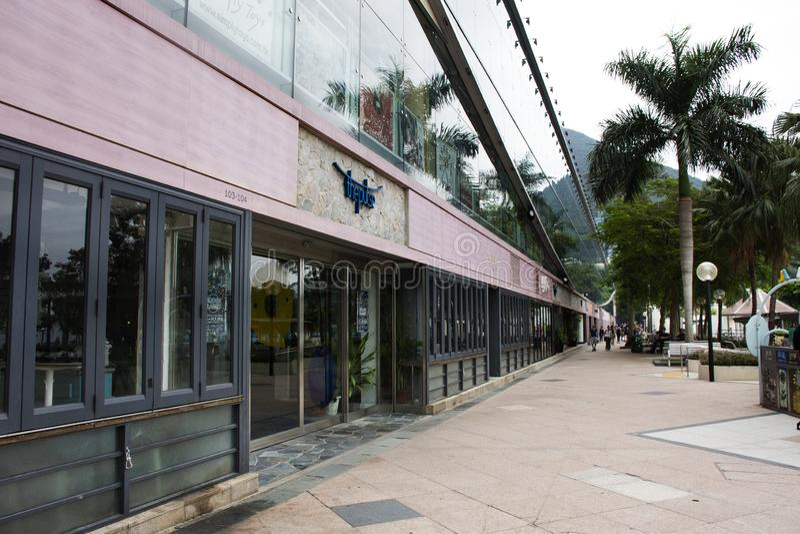 Het Impuls winkelende centrum op Strandweg bij Repulse Baai in Hong Kong, China royalty-vrije stock afbeeldingen