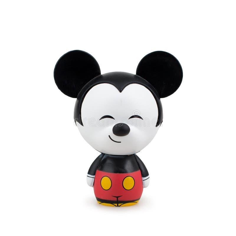 Het inbare stuk speelgoed beeldverhaal van de mickeymuis op witte achtergrond stock foto's
