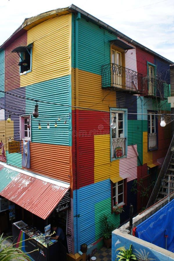 Het inbouwen van Caminito, La Boca, Buenos aires stock foto