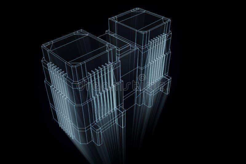 Het inbouwen van Wireframe-Hologramstijl Het 3D Teruggeven van Nice royalty-vrije illustratie