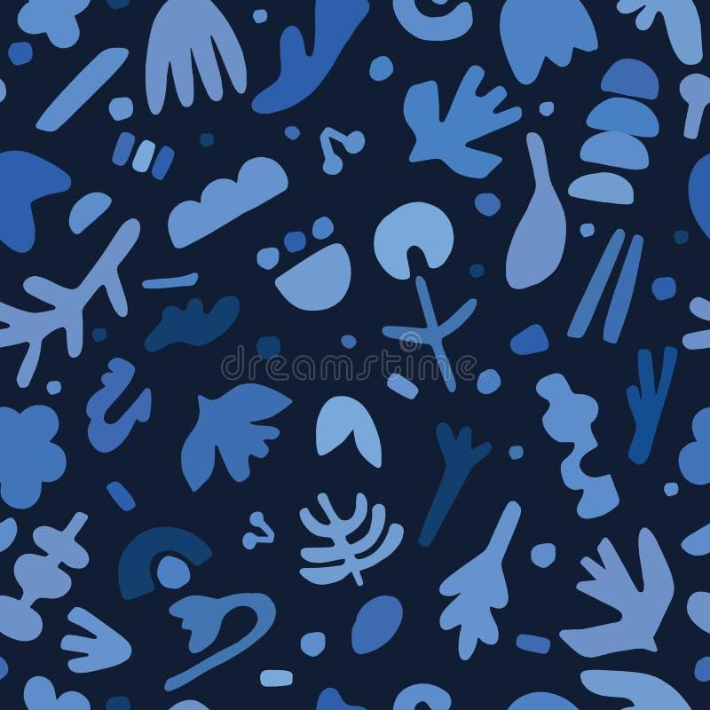 Het indigoblauw sneed document vormen naadloos patroon Schetsmatige de krabbel vectorillustratie van de matissestijl stock illustratie