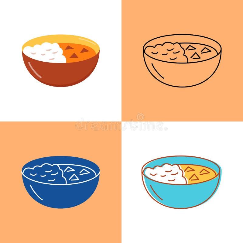 Het Indische die pictogram van het kerrievoedsel in vlakke en lijnstijlen wordt geplaatst vector illustratie