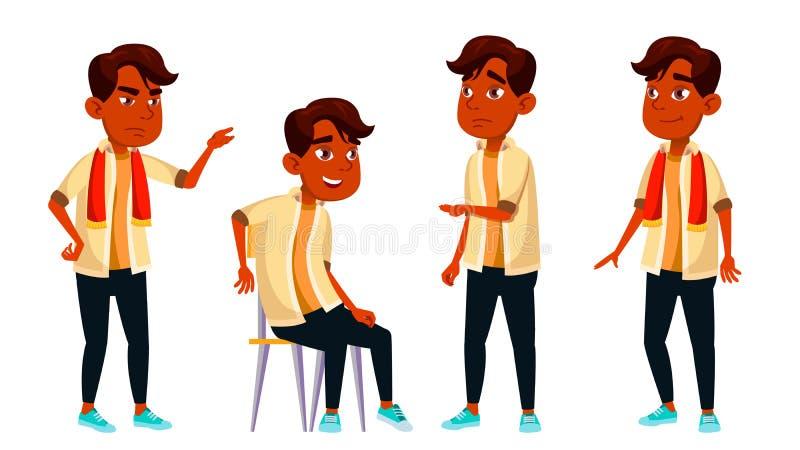 Het Indische Jonge geitje van de Jongensschooljongen stelt Vastgestelde Vector Middelbare schoolkind Kindleerling Onderwerp, Slim vector illustratie