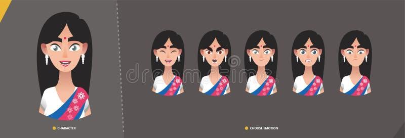 Het Indische karakter van het vrouwenmeisje - reeks emoties vector illustratie