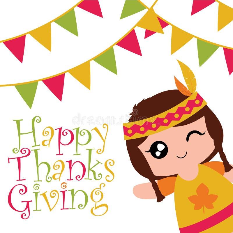 Het Indische meisje knipoogt en glimlacht op kleurrijke vlaggen stock illustratie
