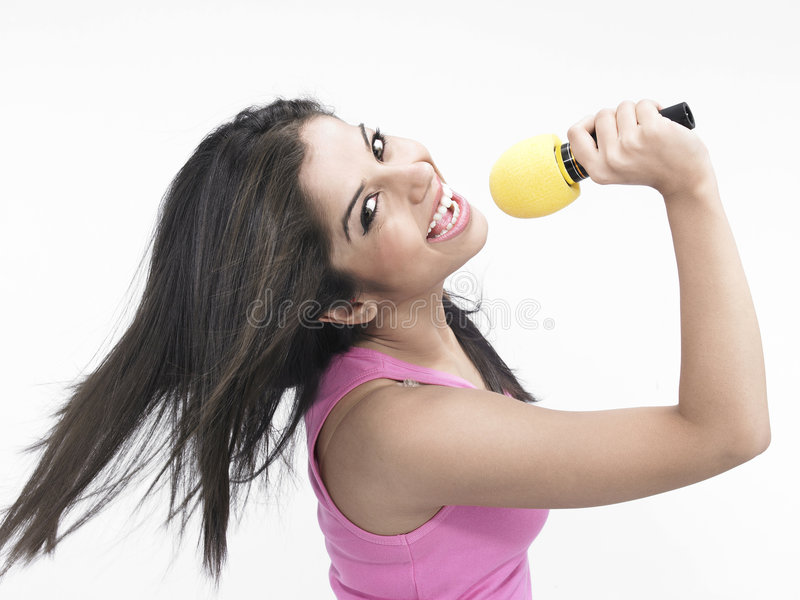 Het Indische meisje zingen stock foto's