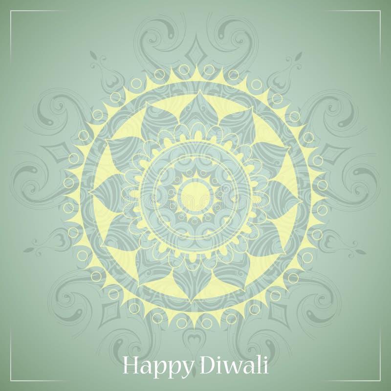 Het Indische ontwerp van de de groetkaart van festivaldiwali vector illustratie