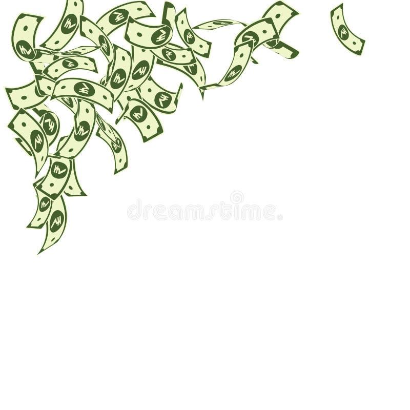Het Indische Roepienota's vallen Drijvende INR rekeningen op witte achtergrond Het geld van India Het charmeren vector ziek royalty-vrije illustratie