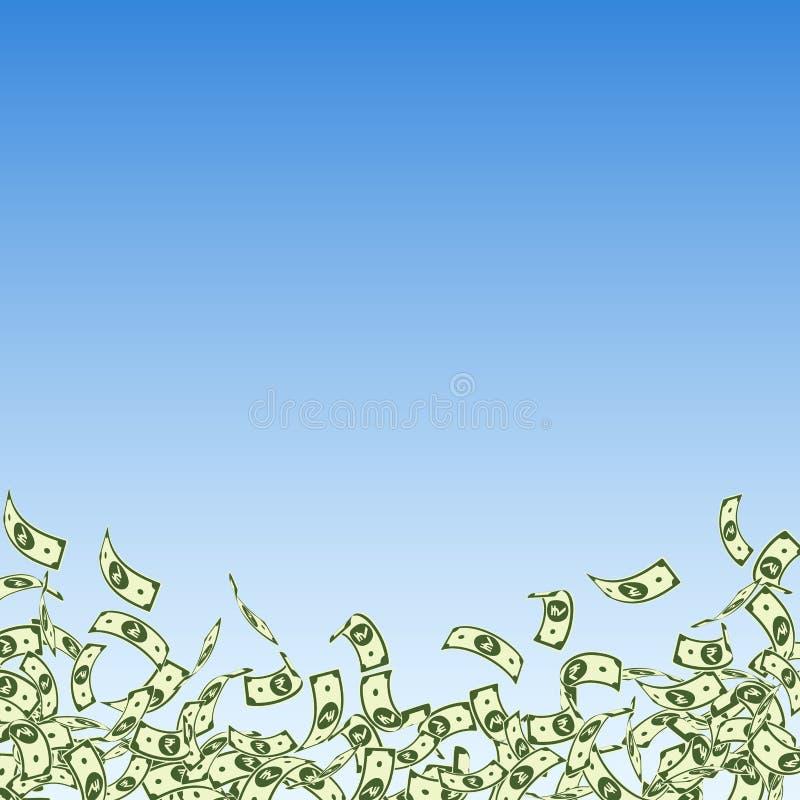 Het Indische Roepienota's vallen Kleine INR rekeningen op blauwe hemelachtergrond Het geld van India Adembenemende vector royalty-vrije illustratie