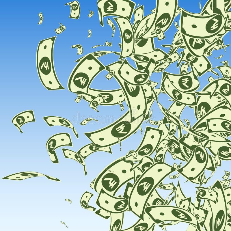 Het Indische Roepienota's vallen Slordige INR rekeningen op blu royalty-vrije illustratie