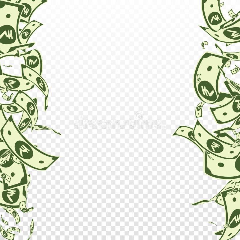 Het Indische Roepienota's vallen Slordige INR rekeningen op tra vector illustratie