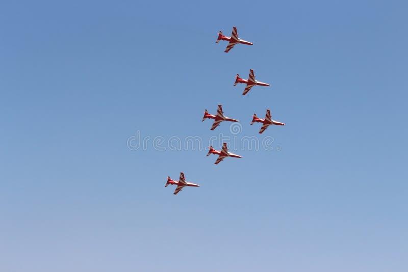 Het Indische team van Lucht force's Aerobatic - Surya Kirans stock foto