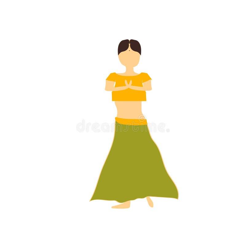 Het Indische vector vectordieteken en het symbool van het dansersmeisje op witte achtergrond, Indisch vector het embleemconcept w royalty-vrije illustratie