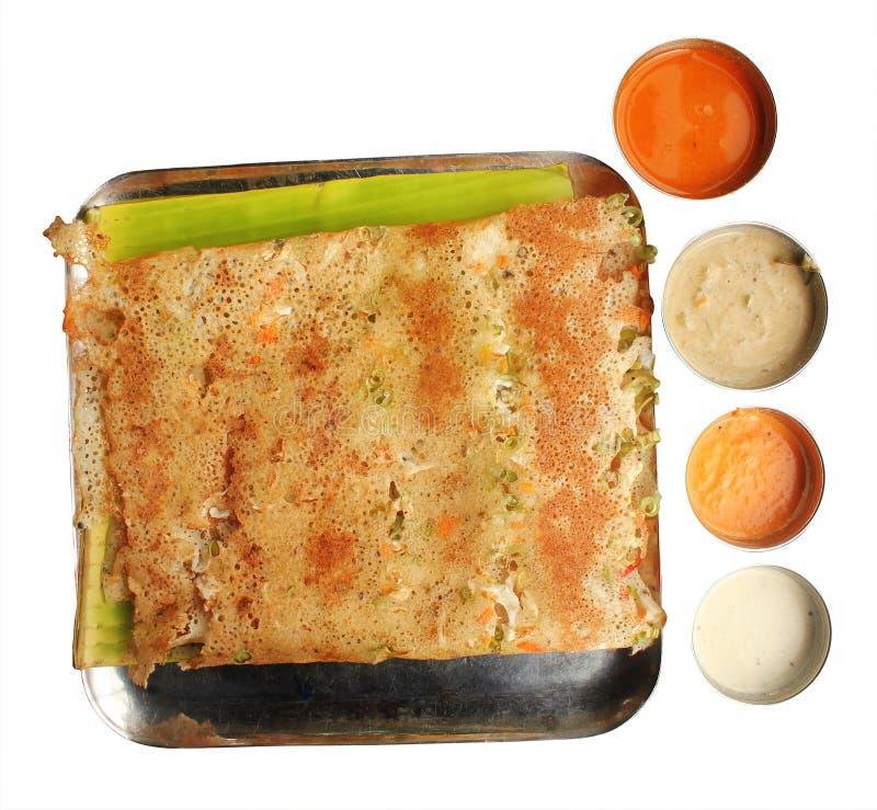 Het Indische voedsel van het zuiden - Rava Plantaardige Masala Dosa royalty-vrije stock fotografie