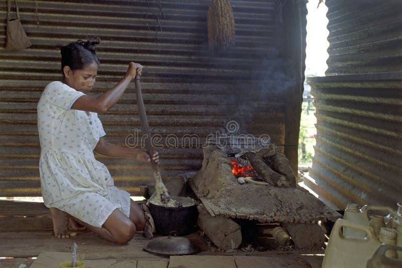 Het Indische vrouw koken in keuken bij Coco-Rivier royalty-vrije stock foto
