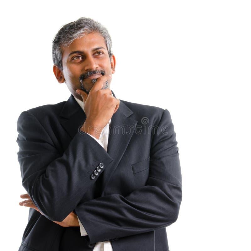 Het Indische zakenman denken. stock fotografie