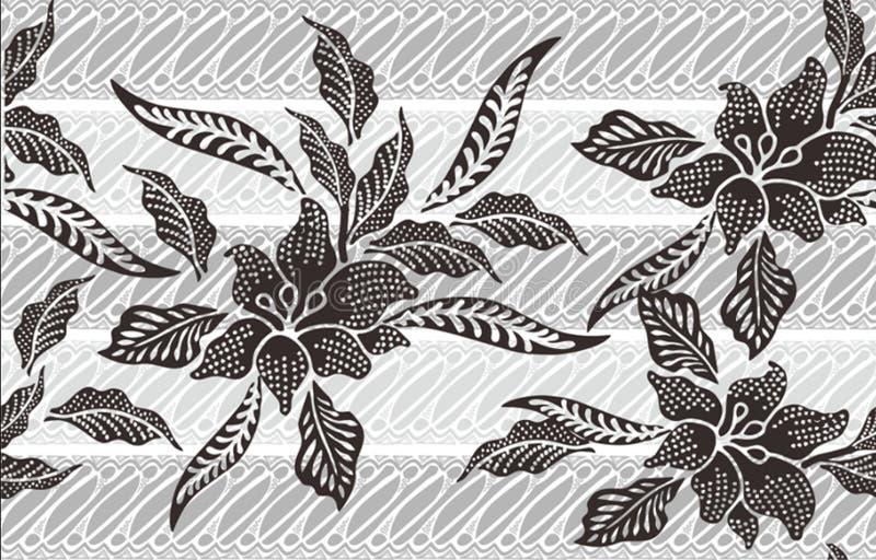 Het Indonesische batikmotief, Batik is een techniek van was-verzet zich tegen verven toegepast op gehele doek, of doek gemaakt ge royalty-vrije illustratie