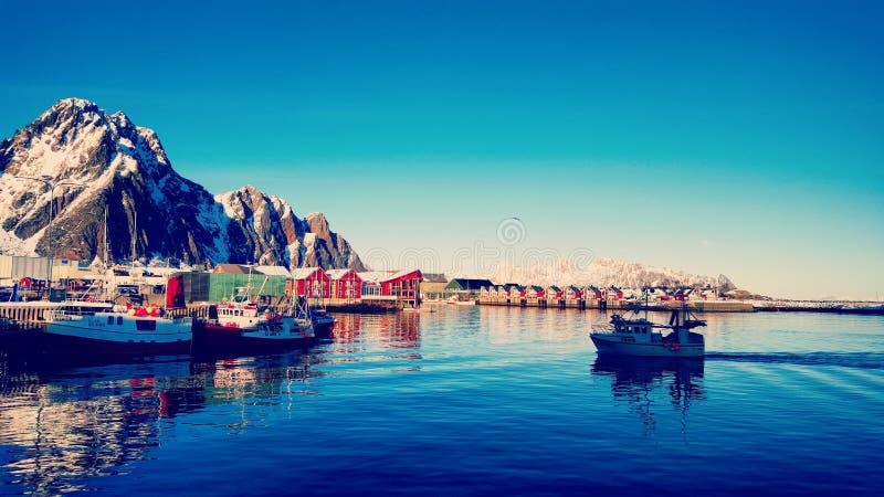 Het indruk maken op Lofoten, Svolvær stock afbeelding