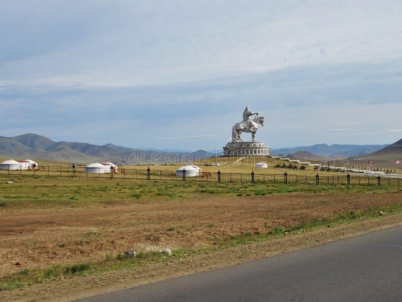 Het indrukwekkende standbeeld van Dzjengis Khan royalty-vrije stock foto