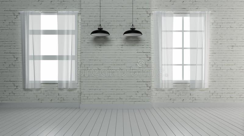 Het industriële binnenlandse 3d ontwerp en de decoratie geven terug stock foto's
