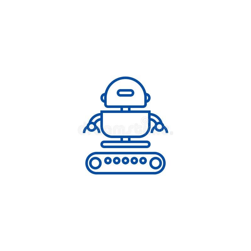 Het industriële concept van het de lijnpictogram van de legerrobot Het industriële vlakke vectorsymbool van de legerrobot, teken, royalty-vrije illustratie