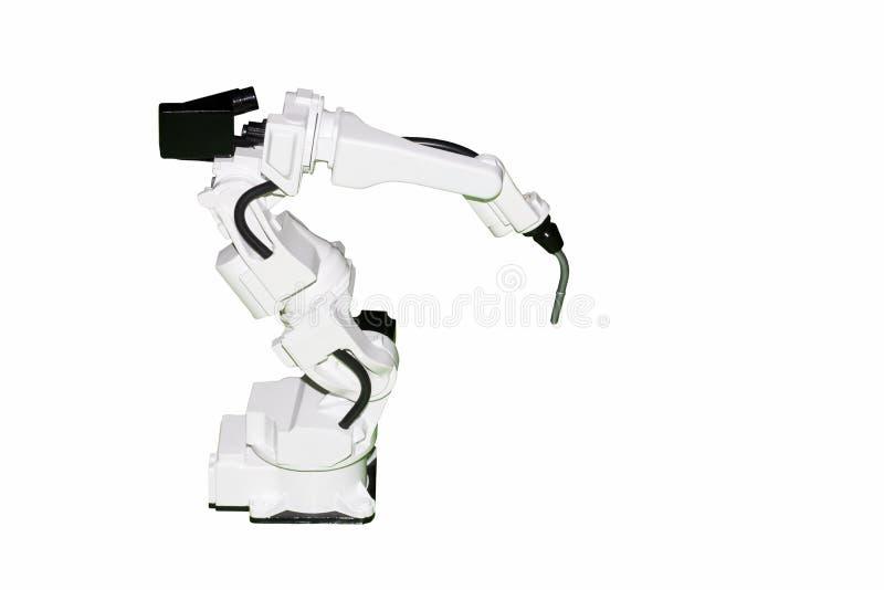 Het industriële die wapen van de lassenrobot met mig-het model van de elektroden ot toorts op witte achtergrond wordt geïsoleerd stock fotografie