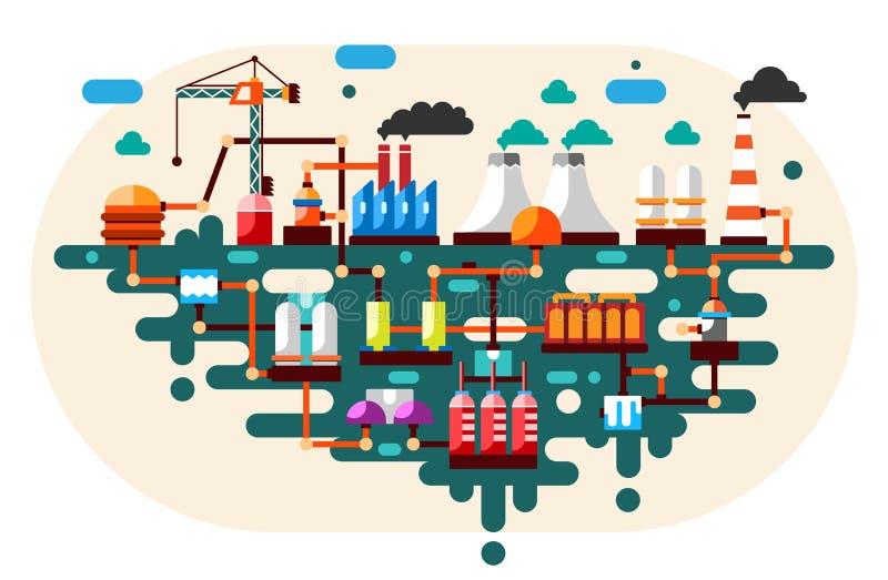 Het industriële proces van de fabriekstechnologie met ecologieconcept Vlakke illustratie stock illustratie