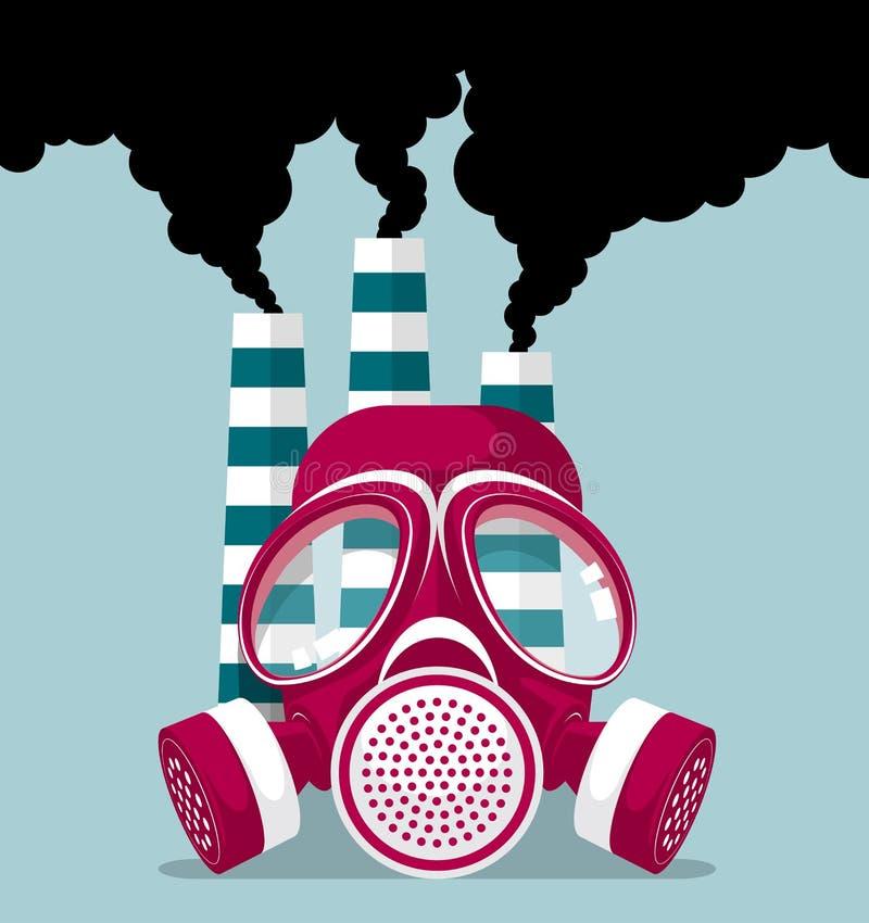Het industriële verontreinigingsconceptontwerp, het gasmasker en drie schoorstenen, roken golvend vector illustratie