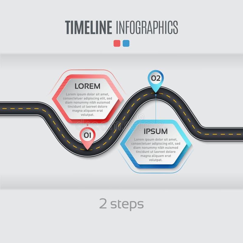Het infographic concept van de 2 stappenchronologie van de navigatiekaart Vectorillu vector illustratie