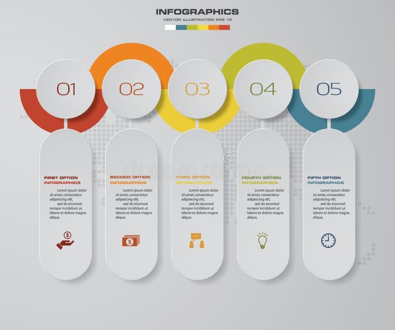 het infographic element van de 5 stappenchronologie kan de 5 stappen infographic, vectorbanner voor werkschemalay-out worden gebr royalty-vrije illustratie