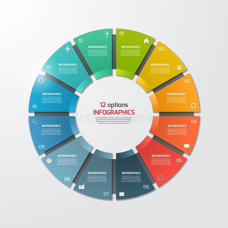 Het infographic malplaatje van de cirkeldiagramcirkel met 12 opties royalty-vrije illustratie