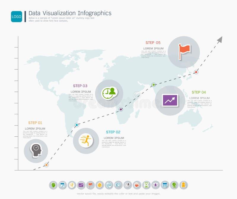 Het infographic malplaatje van de gegevensvisualisatie, met sommige eenvoudige stappen of opties om u te helpen voor uw zaken ont stock illustratie