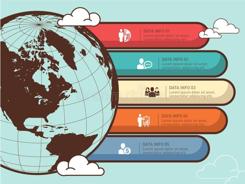 Het infographic vectorontwerp van de wereldkaart Het malplaatje van het Infographicontwerp, aardebanner royalty-vrije illustratie