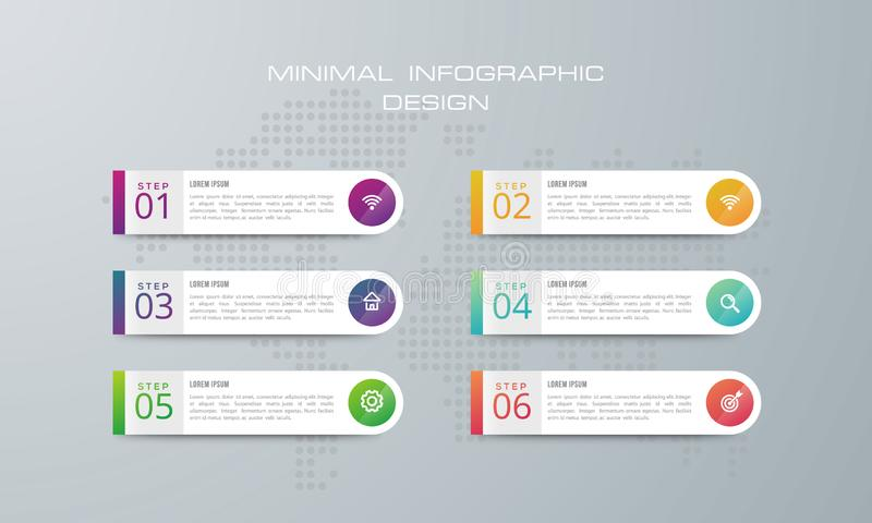 Het Infographicmalplaatje met 4 opties, werkschema, procesgrafiek, ontwerp van Chronologieinfographics en marketing pictogrammen  vector illustratie