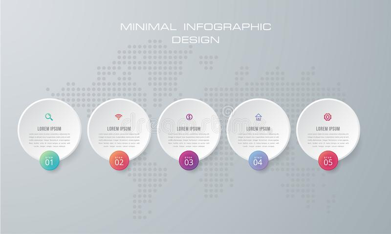 Het Infographicmalplaatje met 4 opties, werkschema, procesgrafiek, het ontwerpvector van Chronologieinfographics en marketing pic royalty-vrije illustratie