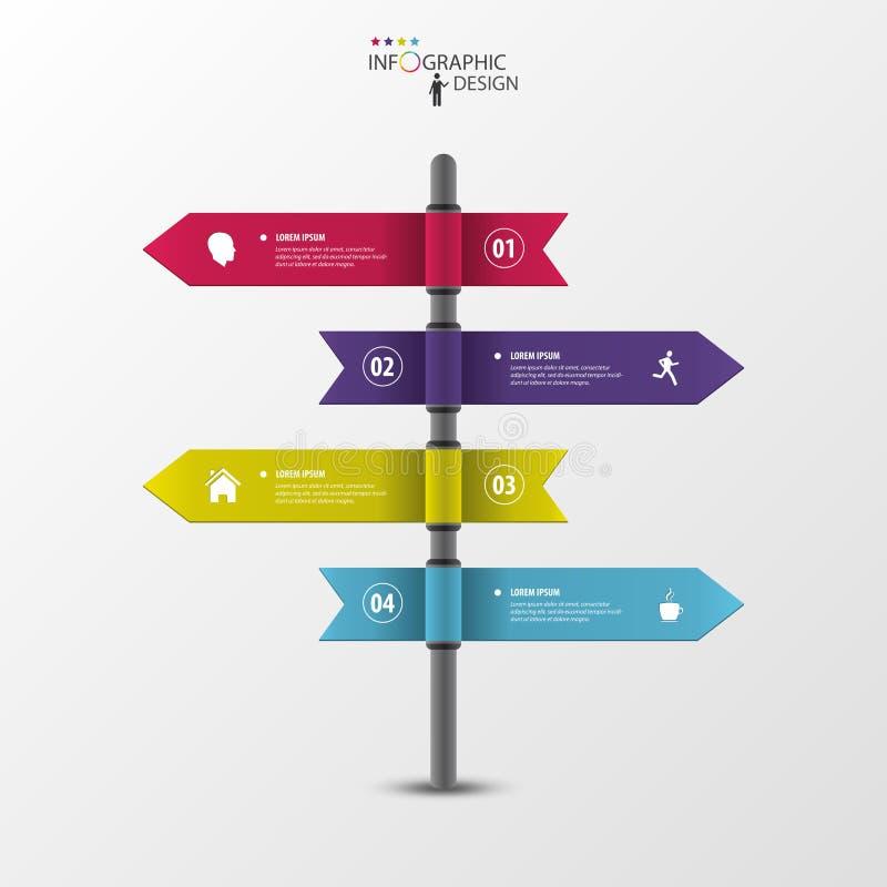 Het Infographicmalplaatje van algemene wijzers op voorziet van wegwijzers stock illustratie